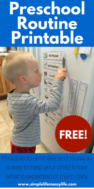 FREE Preschool Routine Printable