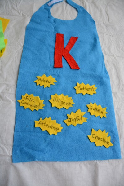 No-Sew Cape and Character Badges - Hero Training Kid's Character Challenge